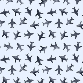 Grey on blue airplanes - around the world watercolor airplanes