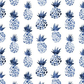 Denim blue watercolor pineapples for modern neutral nursery, tropical fruits