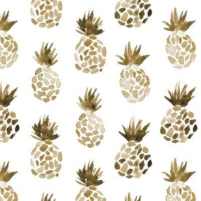 Earthy pineapples on white - tropical modern fruits for neutral home decor, bedding, nursery