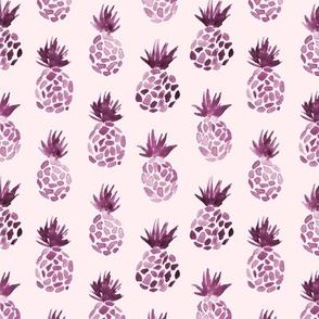 Plum pineapples - watercolor tropical for modern home decor, bedding, nursery