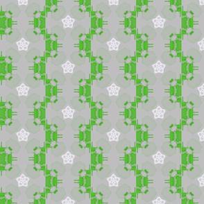 Green and white geometric shapes on light grey