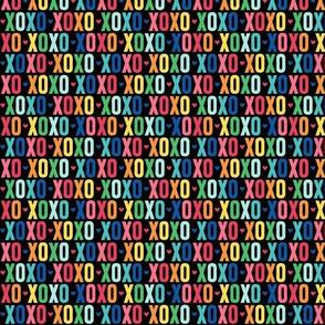 xoxo XSM rainbow on black UPPERcase