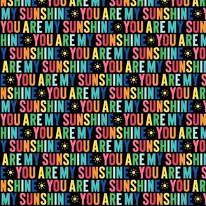 you are my sunshine XSM rainbow on black UPPERcase