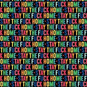 stay the fuck home XSM rainbow on black UPPERcase