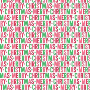 merry christmas XSM green pink red UPPERcase