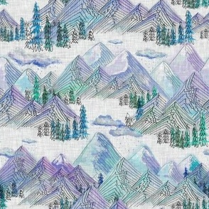 Rainy Mountains Purple Blue on Light Grey MED