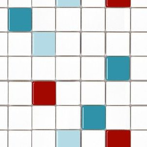 Tile Mosaic Red and Teal