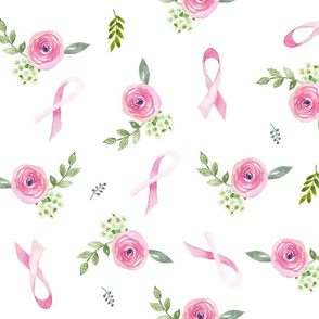 Pink Ribbon Floral