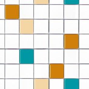 Tile Mosaic Orange and Turquoise