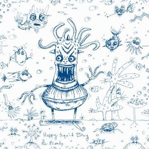 happy hand drawn squid boy and friends off the wall toile, large scale, blue and white