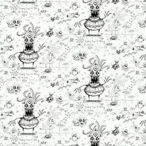 happy hand drawn squid boy and friends off the wall marine toile, small scale, black and white