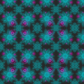 Hot pink and Aqua  Feather flowers on Black