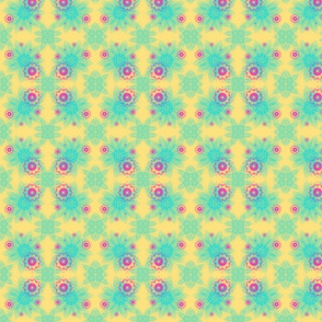 Pink and aqua flower shapes on yellow