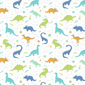 Space Dinosaurs on White