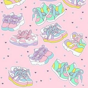 Harajuku chunky shoes on pastel pink