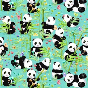 The average size, Cheerful panda with bamboo, bright turquoise background