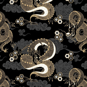 Serpent Dragon Black and Gold