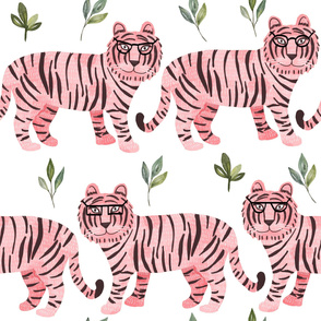 """32"""" Pink Tigers - white"""
