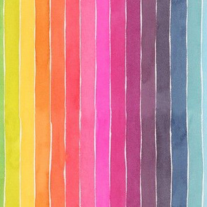 Summer Watercolor Stripes - small scale vertical