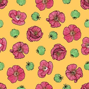 Poppies flowers and seeds pattern - yellow