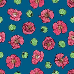 Poppies flowers and seeds pattern - blue