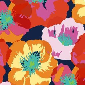 Big Poppies - orange Pink