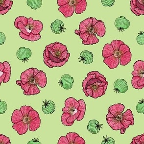 Poppies flowers and seeds pattern - green