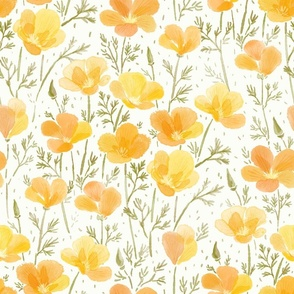 "Watercolor California Poppies Meadow 18"""