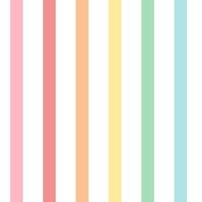 pastel rainbow stripes .5in XXL vertical