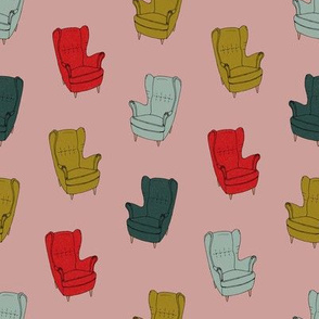 Seventies Armchair Pattern - Version 1 Red