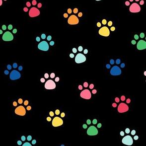 LG rainbow paw prints on black