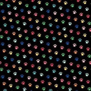 rainbow paw prints on black