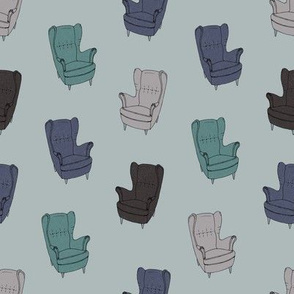 Seventies Armchair Pattern - Version 2 Blue