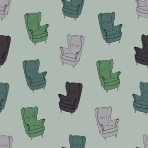 Seventies Armchair Pattern - Version 3 Green