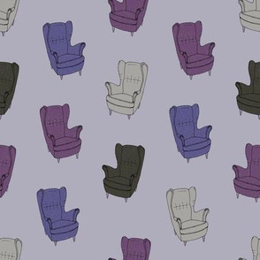 Seventies Armchair Pattern - Version 6 Blue/Violet/Purple