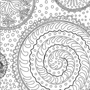 Outline mandalas for coloring or monochromatic rooms