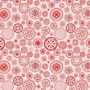 Hand-drawn red mandala chakra wheels