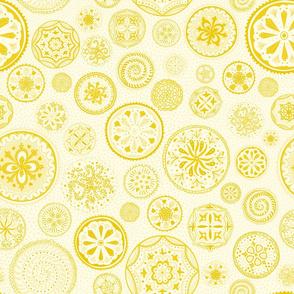 Hand-drawn yellow Mandala chakra wheel