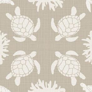 sea turtles on natural linen look-