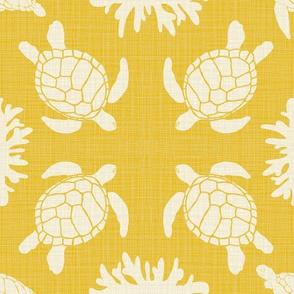 Sea Turtles on Marigold Linen texture