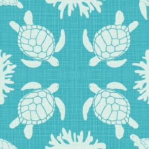 Sea Turtles on Turquoise Linen Look
