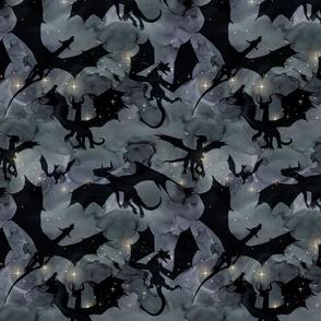 Dragons - black on night sky
