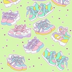 Harajuku chunky shoes on green
