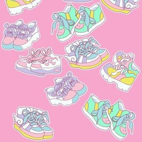 Harajuku chunky shoes on hot pink
