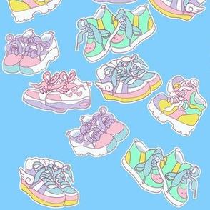 Harajuku chunky shoes on blue