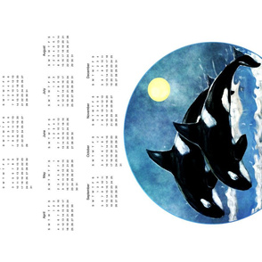 2021 Orca Calendar Tea Towel