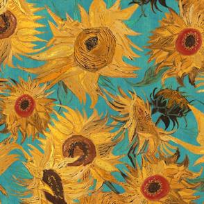 Van Gogh Sunflowers teal orange