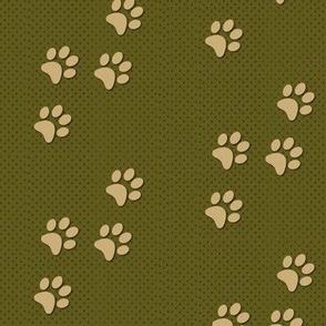 paw prints olive green