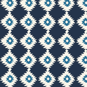 Blue Geometric Ikat