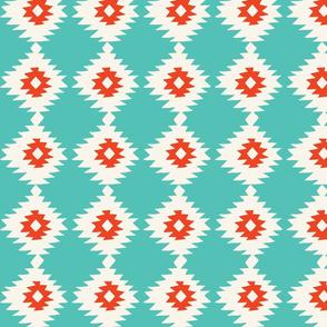 Turquoise Geometric Ikat